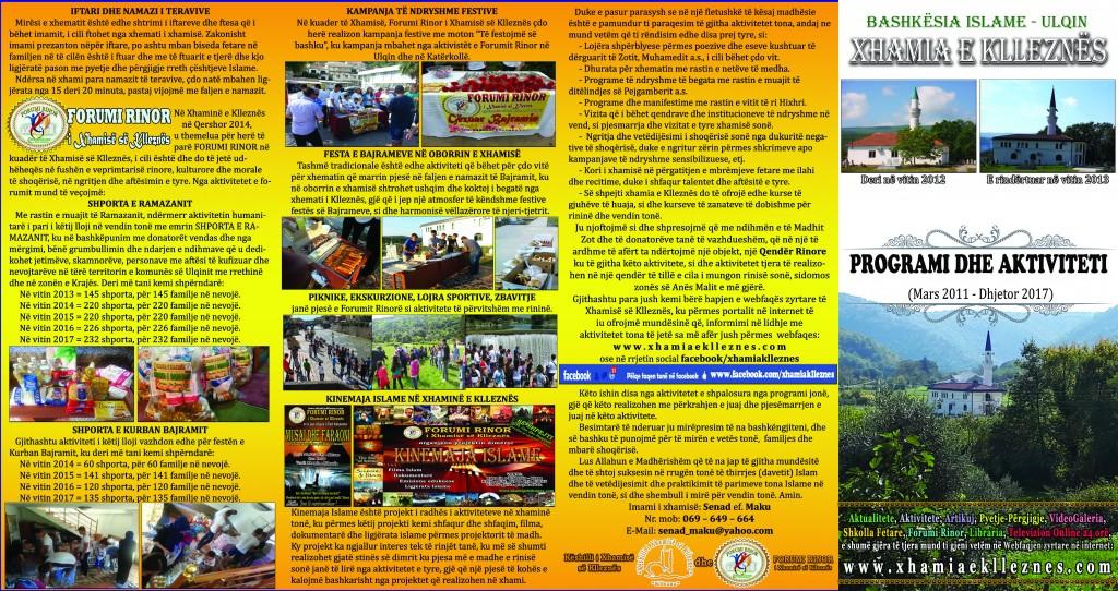 Programi dhe aktiviteti, xhamia e klleznes 2018 1